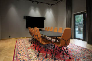 meeting room with boardroom style at scandic sjolyst in oslo norway