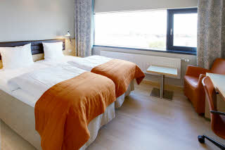 bed in standard twin room at Scandic Olympic in Esbjerg