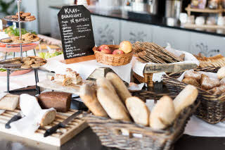 Bread on breakfast buffet