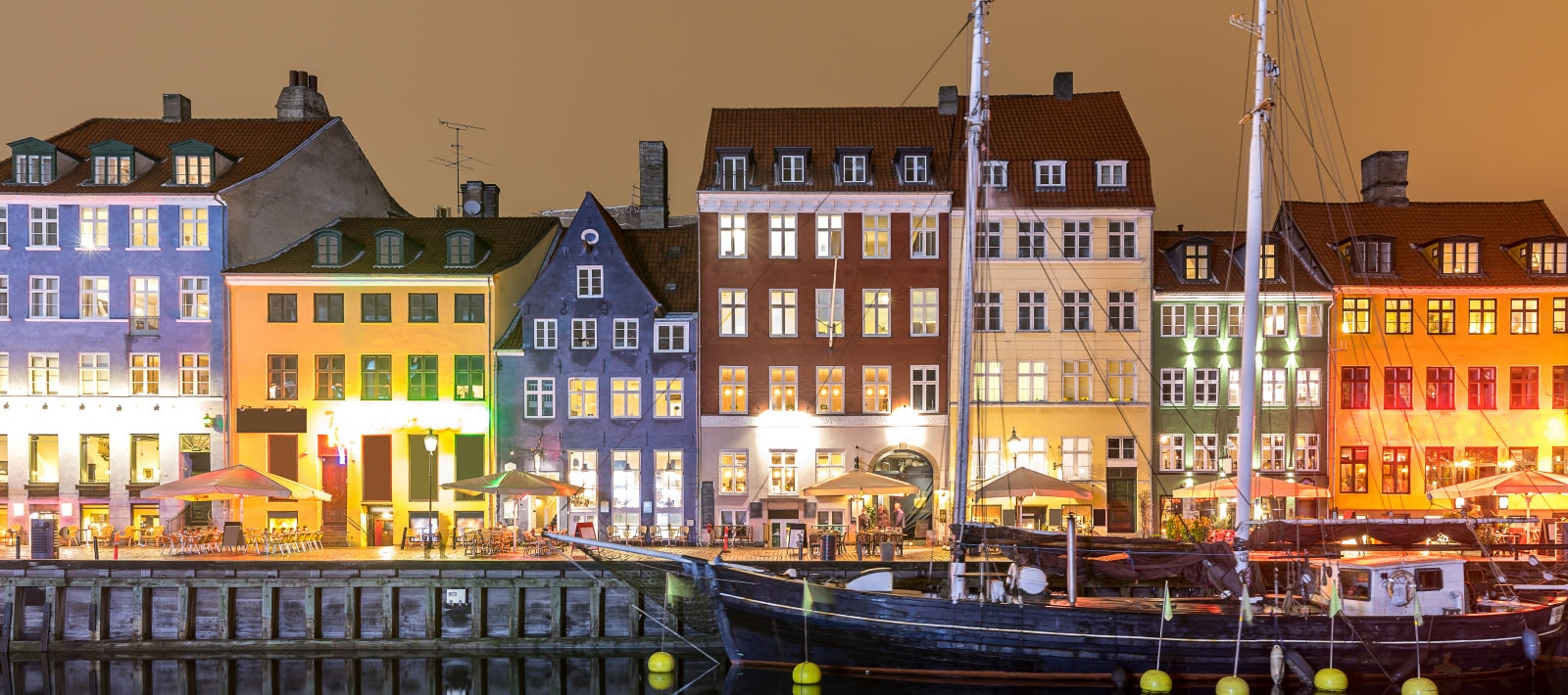 Copenhagen Nyhavn, New port of Copenhagen, at night in Denmark