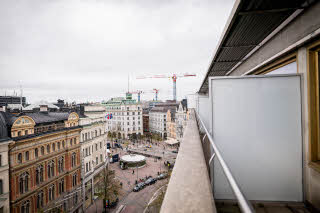 balcony view in standard room at scandic anglais in stockholm